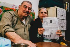 Victoria and Faridelia BOUTROS disabled, Christian Iraki refugee couple registered with the UNHCR, in their precarious housing, Beirut, Lebanon