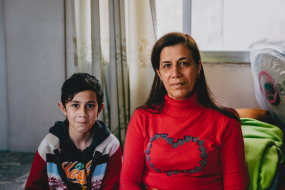 Haïfa with her son Marios, Christian Iraqi refugees, Beirut, Lebanon