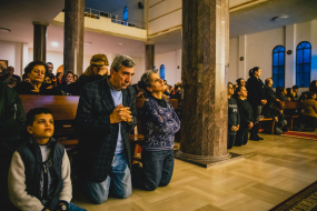 Christian Iraqi refugees attending the way of the cross celebration, Beirut, Lebanon