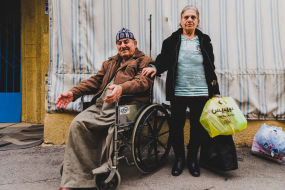Victoria and Faridelia BOUTROS disabled,, Christian Iraqi refugee couple registered with the UNHCR, in front of their precarious housing, Beirut, Lebanon