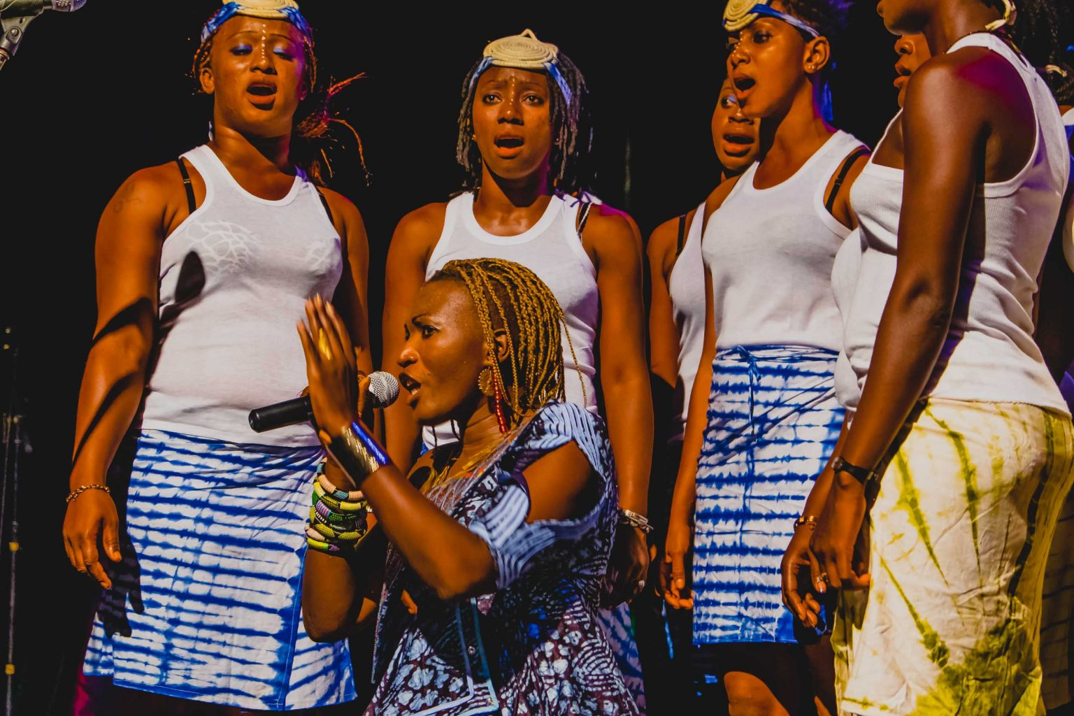 GUINEAN SINGER SAYON BAMBA PERFORMING A SHOW AT GUINEAN-FRENCH CULTURAL CENTER (CCFG) IN CONAKRY