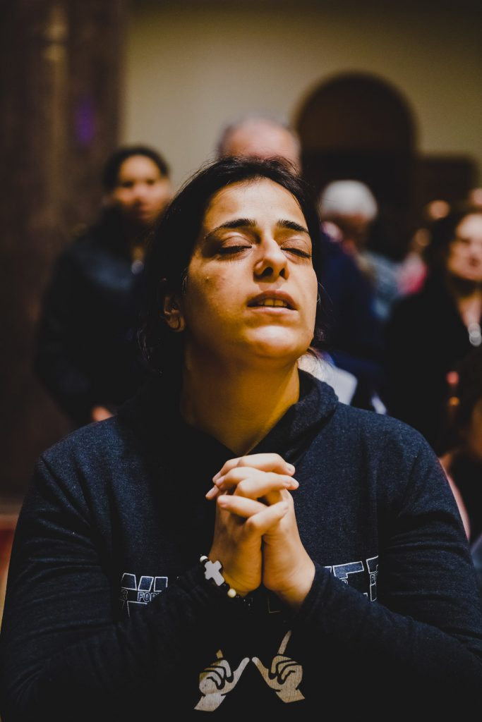 CHRISTIAN REFUGEE FROM IRAQ ATTENDING THE WAY OF THE CROSS CELEBRATION, BEIRUT, LEBANON