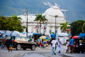 Haitian earthquake survivors sheltered in tents pitched in front of the ruins of the presidential Palace, Port-au-Prince, Haiti, Central America